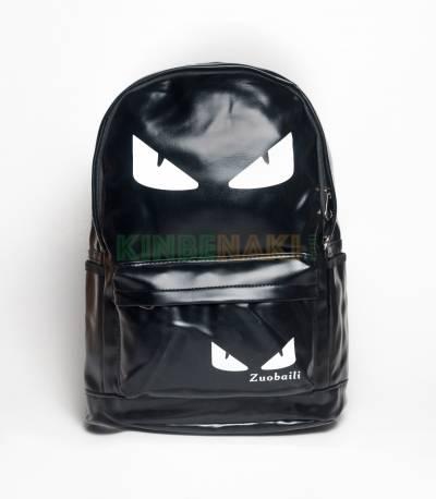Eye Print Black PU Leather Backpack