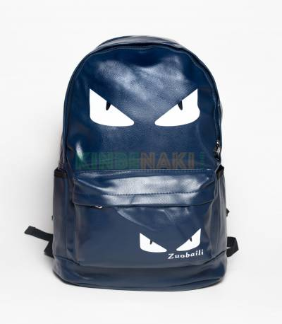 Eye Print Blue PU Leather Backpack