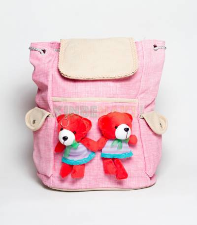 Two Cute Bear Dark Pink Girls Backpack