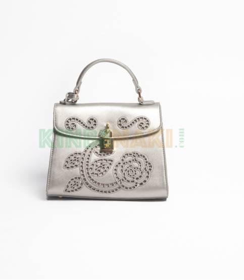 Susen Flower Silvery Hand Bag