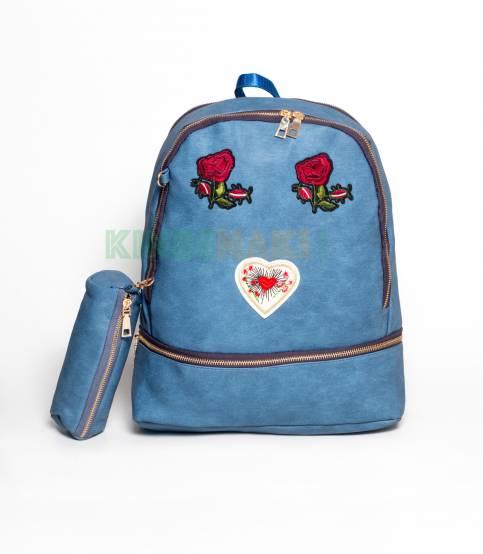 Butterfly & Flower Blue Backpack