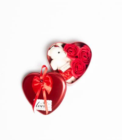 Heart Shape Gift Box With Flower And Teddy Bear