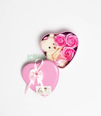 Heart Shape Pink Gift Box With Flower And Teddy Bear (Medium)