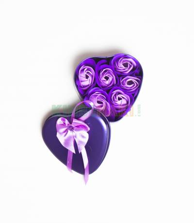 Heart Shape Purple Gift Box With Flower And Teddy Bear (Small)