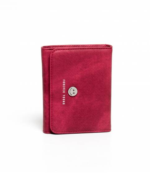 Forever Young Smiley Leather Wallet Maroon
