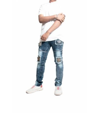Slim Fit Dark Blue Denim Jeans For Men