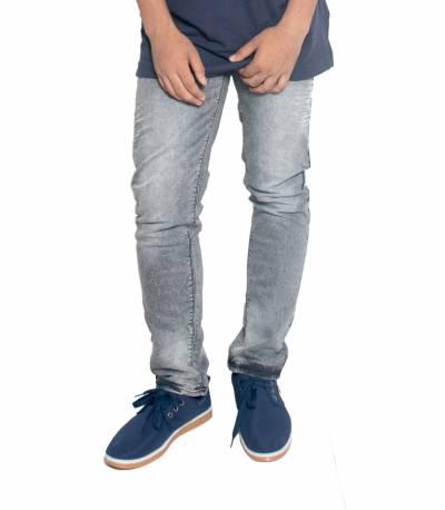 Grey Stretch Denim Jeans For Men