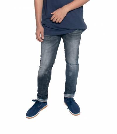 Slim Fit Grey Stretch Denim Jeans For Men