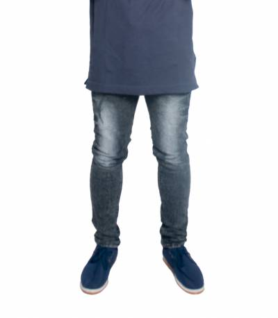 Fashionable Grey Stretch Denim Jeans For Men