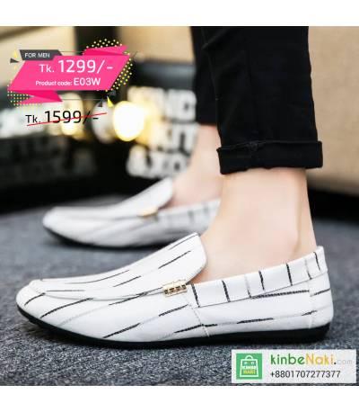 Men's White Shoe With Black Stripe