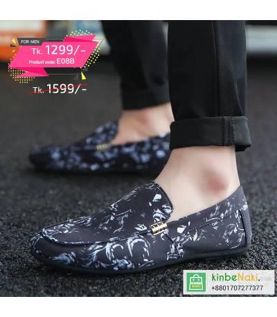 Men's Black Shoe With White Floral Design