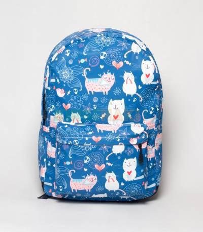 Cutie Cat Light Blue Girls Backpack