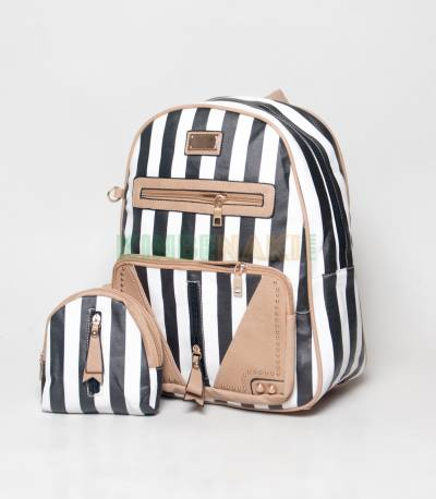 JJ Fashion Black & White Stripe Girls Mini Backpack