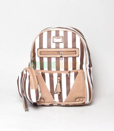 JJ Fashion Brown & White Stripe Girls Mini Backpack