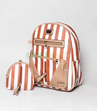 JJ Fashion Light Brown & White Stripe Girls Mini Backpack