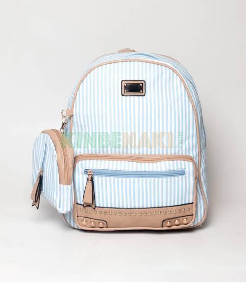JJ Fashion Sky Blue & White Small Stripe Girls Mini Backpack
