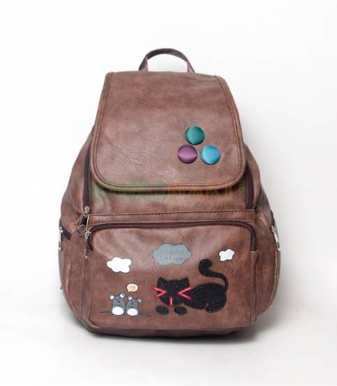 Cat & Bird Yunuo Chocolate Girls Mini Backpack