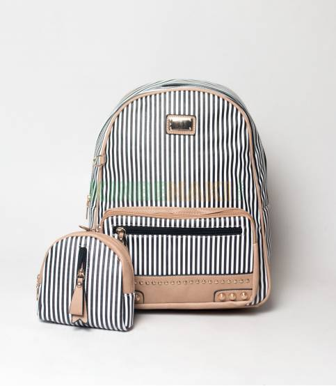 JJ Fashion Black & White Small Stripe Girls Mini Backpack