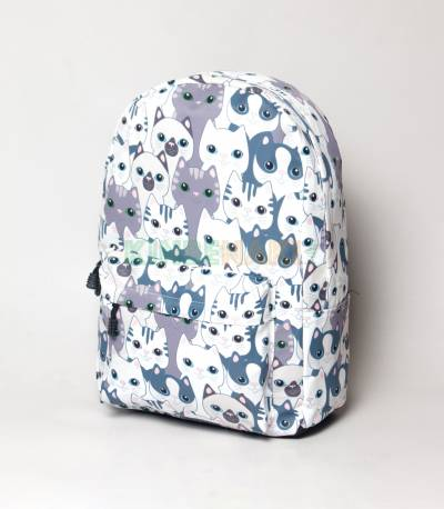 Multicolor Cat Light White & Purple Girls Backpack