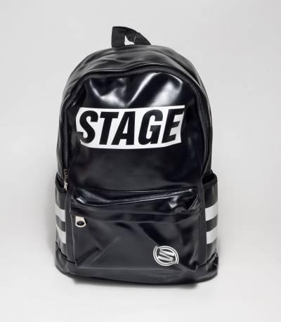 Stage Black Rexine Backpack