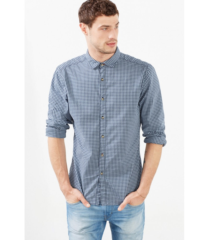 EDC Esprit Sky Blue Check Shirt. Loading zoom