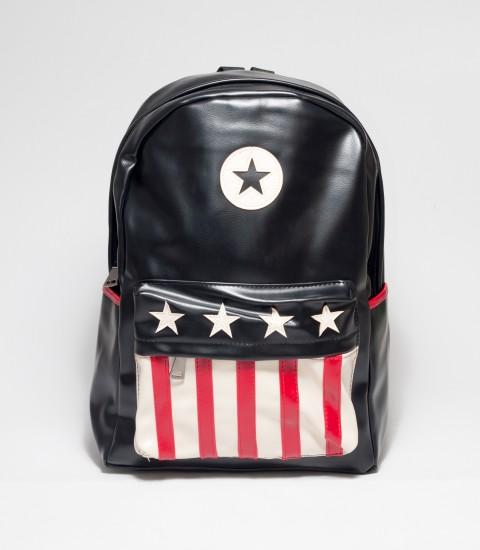 USA Flag Print Black Rexine Backpack