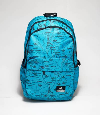 Sky and Black Color Adidas Print Backpack