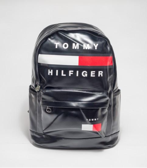 TOMMY HILFIGER Black Rexin Backpack