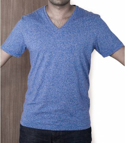 Blue V Neck Grandad T-Shirt