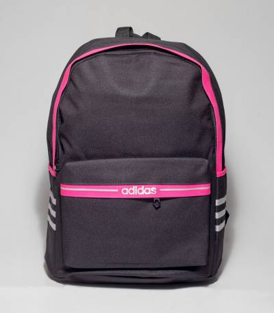 Adidas Deep Pink Stripe Black Color Backpack