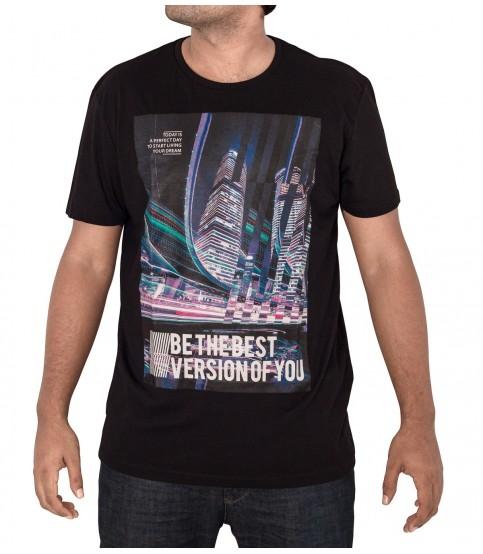 Black Color Round Neck Printed T-Shirt