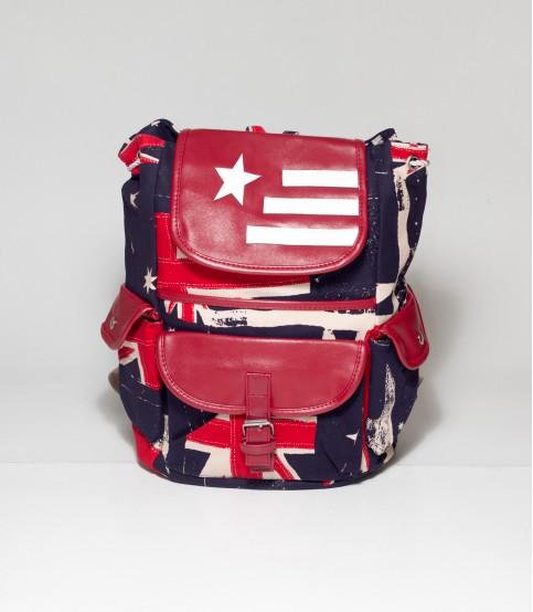 Blue UK Print Blue Backpack