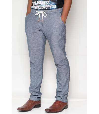 Celio Ramie Cotton Blue Casual Pant
