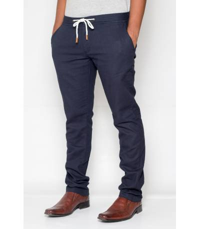Celio Ramie Cotton Navy Casual Pant