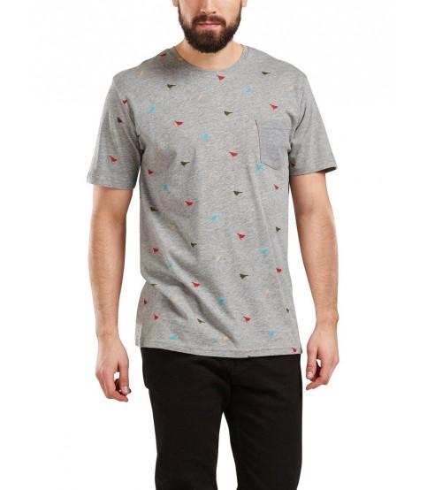 Bird Printed Round Neck Gray T-Shirt
