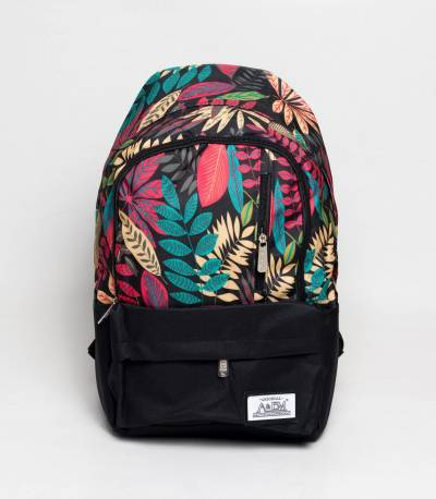Xike Madi Black And Multi Color Floral Girls Backpack