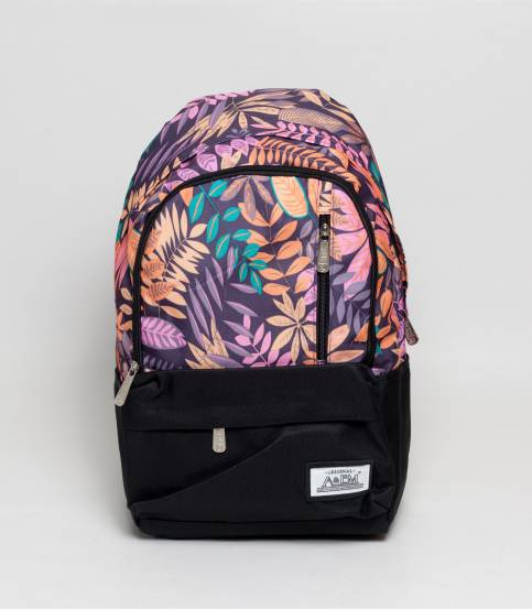 Xike Madi Black And Purple Color Floral Girls Backpack