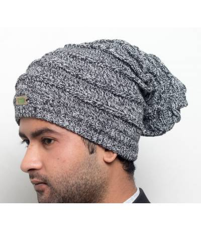 Men's Black And Gray Beanie
