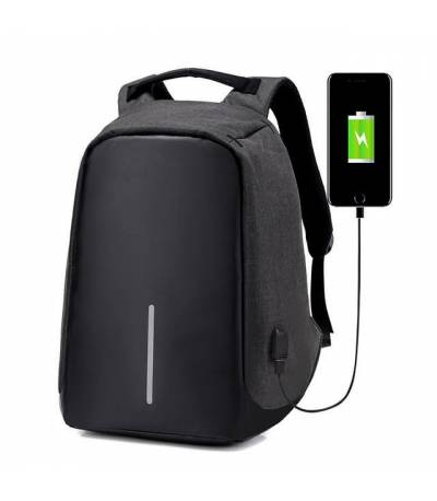 Anti Theft Black Backpack