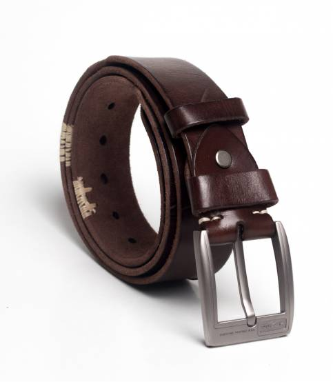Original leather chocolate random design belt