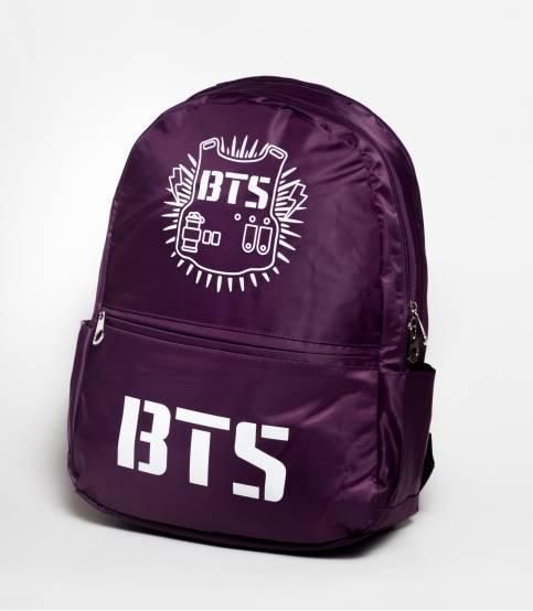 BTS Solid Dark Purple Fabric Backpack
