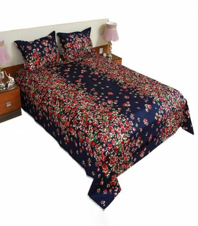 Home Tex Small Flower Blue Bedsheet