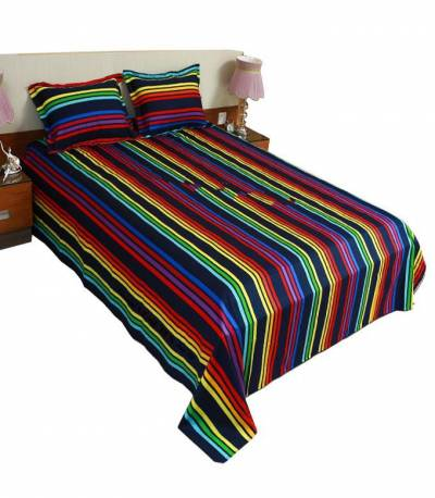 Home Tex Dark Blue And Red Step Bedsheet