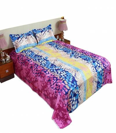 Home Tex Blue And Yellow Shade Bedsheet