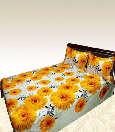 Home Tex Off White And Yellow Flower Bedsheet