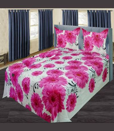 Home Tex Off White And Pink Flower Bedsheet
