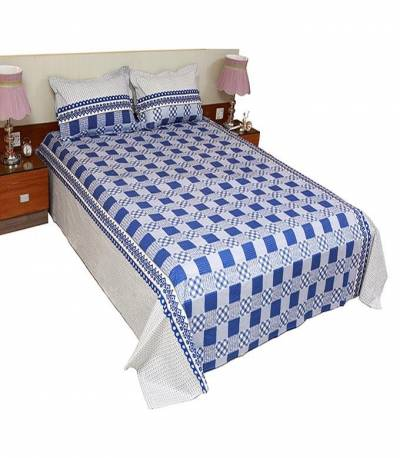 Home Tex Off White And Blue Round Step Bedsheet
