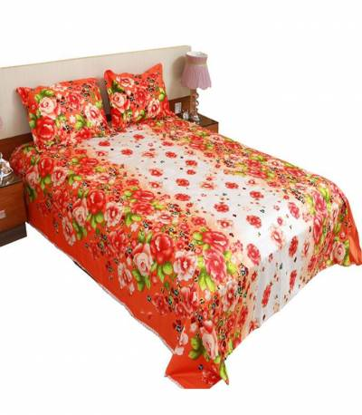 Home Tex White and Orange Flower Bedsheet