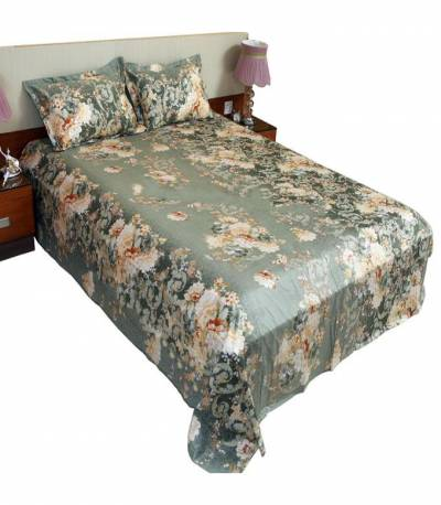 Home Tex Cotton Dark Green Bedsheet
