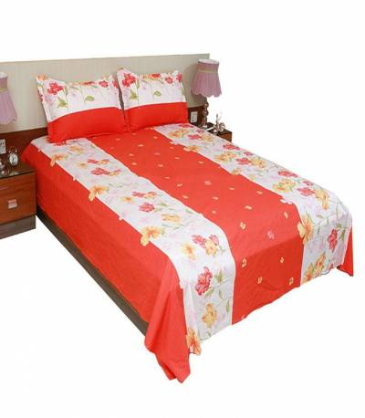 Home Tex Cotton Orange Flower Bedsheet